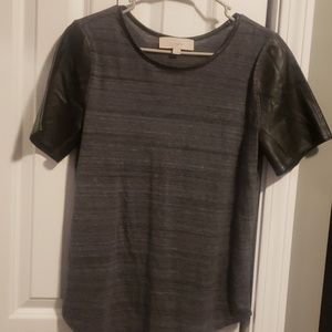 LOFT vegan leather sleeved shirt